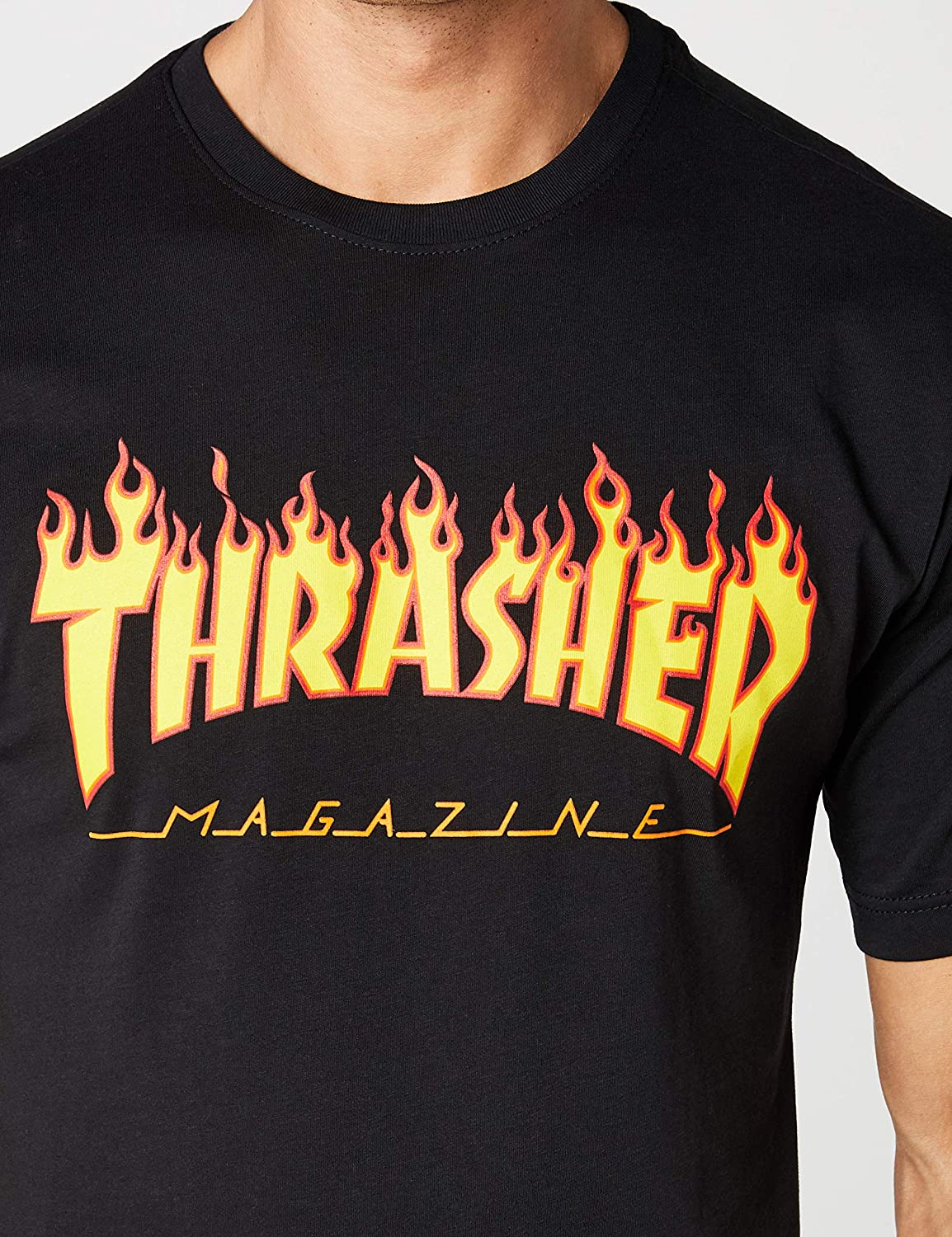 9ebf13a4b404 Amazon.com  Thrasher Flame Short Sleeve T-Shirt  Clothing