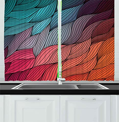 Ambesonne Colorful Kitchen Curtains, Hand Drawn Waves Texture Curly  Conceptual Artistic Fur Feather Psychedelic Design