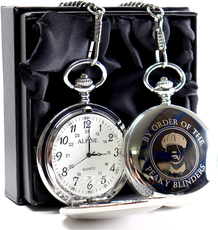 Peaky Blinders Design - Reloj de bolsillo (caja de regalo), color plateado: Amazon.es: Hogar
