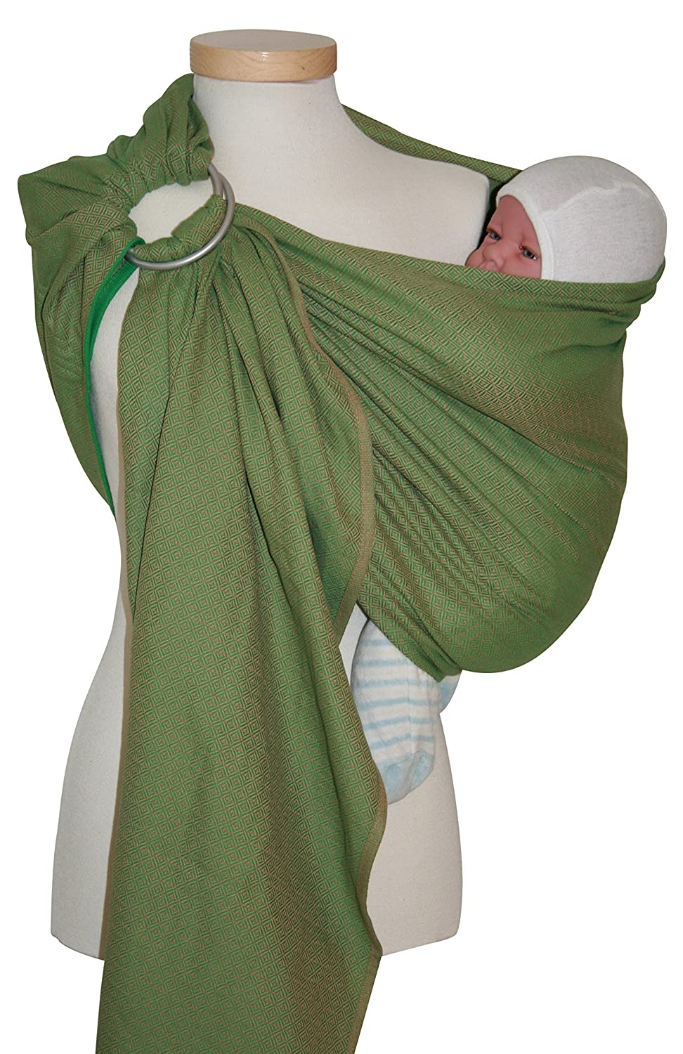 Storchenwiege Ring Sling Woven Cotton Baby Carrier From Germany Leo Pattern Leo Green