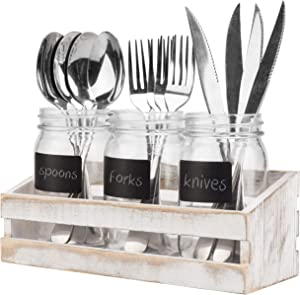 MyGift Whitewashed Wood Utensil Holder, Flatware Caddy, Organizer Tray with 3 Mason Jars & Chalkboard Labels