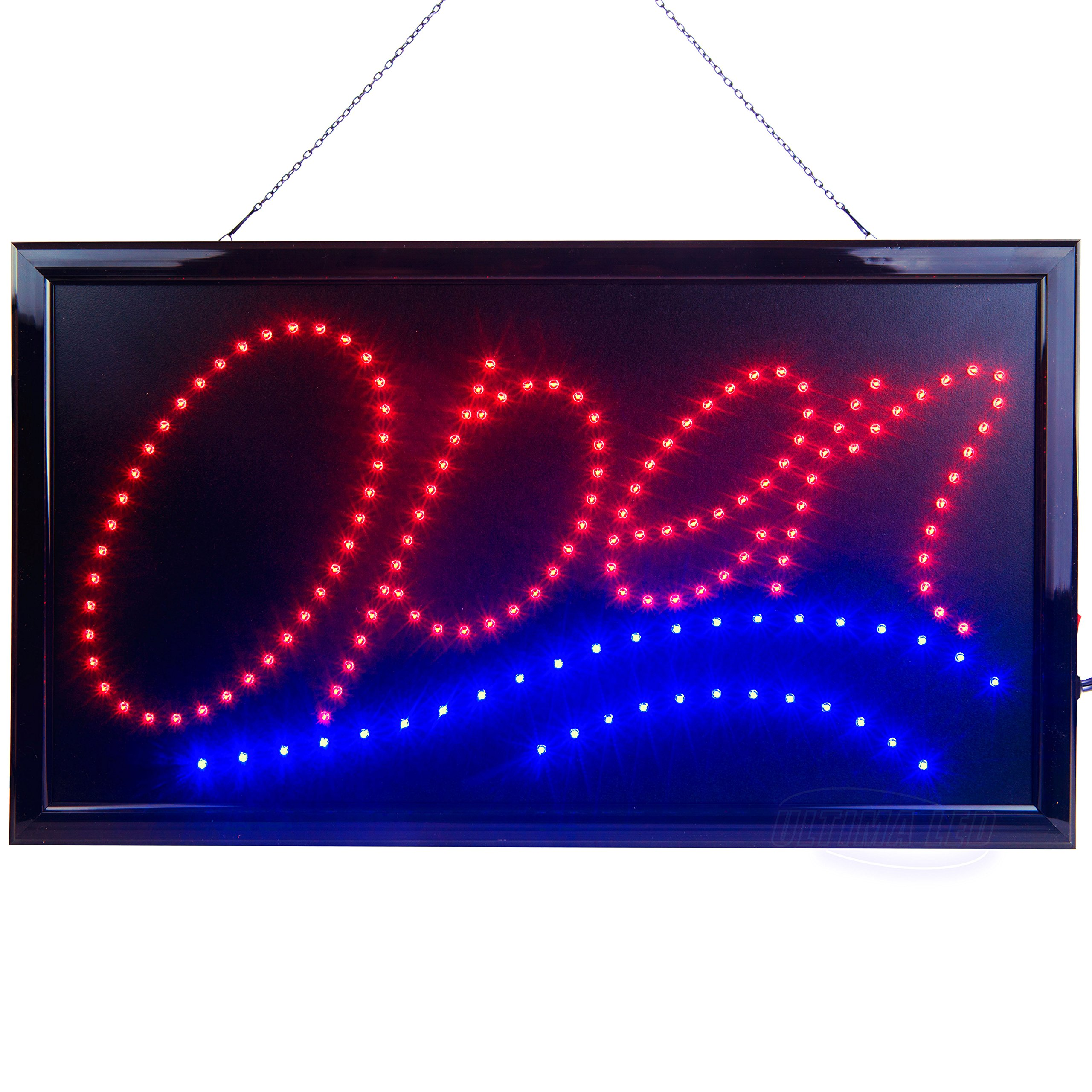 Large LED Open Sign for Business Displays: Jumbo Light Up Sign Open with 2 Flashing Modes | Electronic Lighted Signs for Bars, Liquor Stores | No use of Toxic Neon (24'' x 13'', Model 1) by Ultima LED