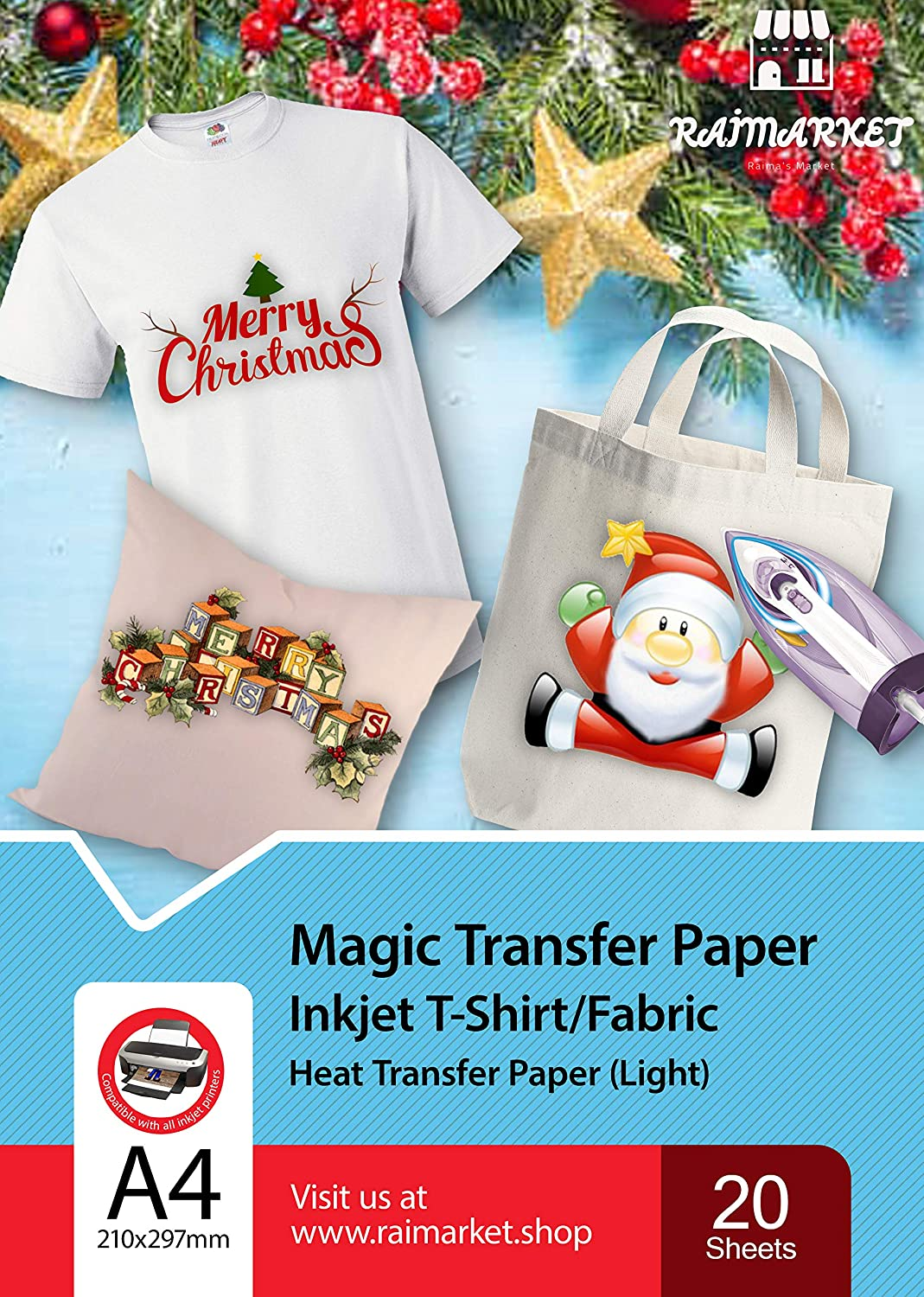 Raimarket Premium Iron on Heat Transfer Paper for Light or White Fabric | 20 Printable Sheets | 8.5 x 11 inch | DIY Thermal T shirt Transfers