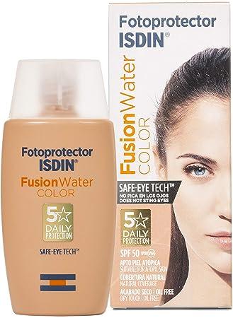 Fotoprotector ISDIN Fusion Water COLOR SPF 50 50 ml, fotoprotector facial de fase acuosa con color para uso diario, cobertura natural