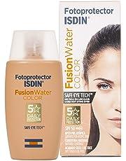 Fotoprotector ISDIN Fusion Water Color SPF 50, Protector Solar Facial Uso Diario, Textura Ultraligera, 50ml