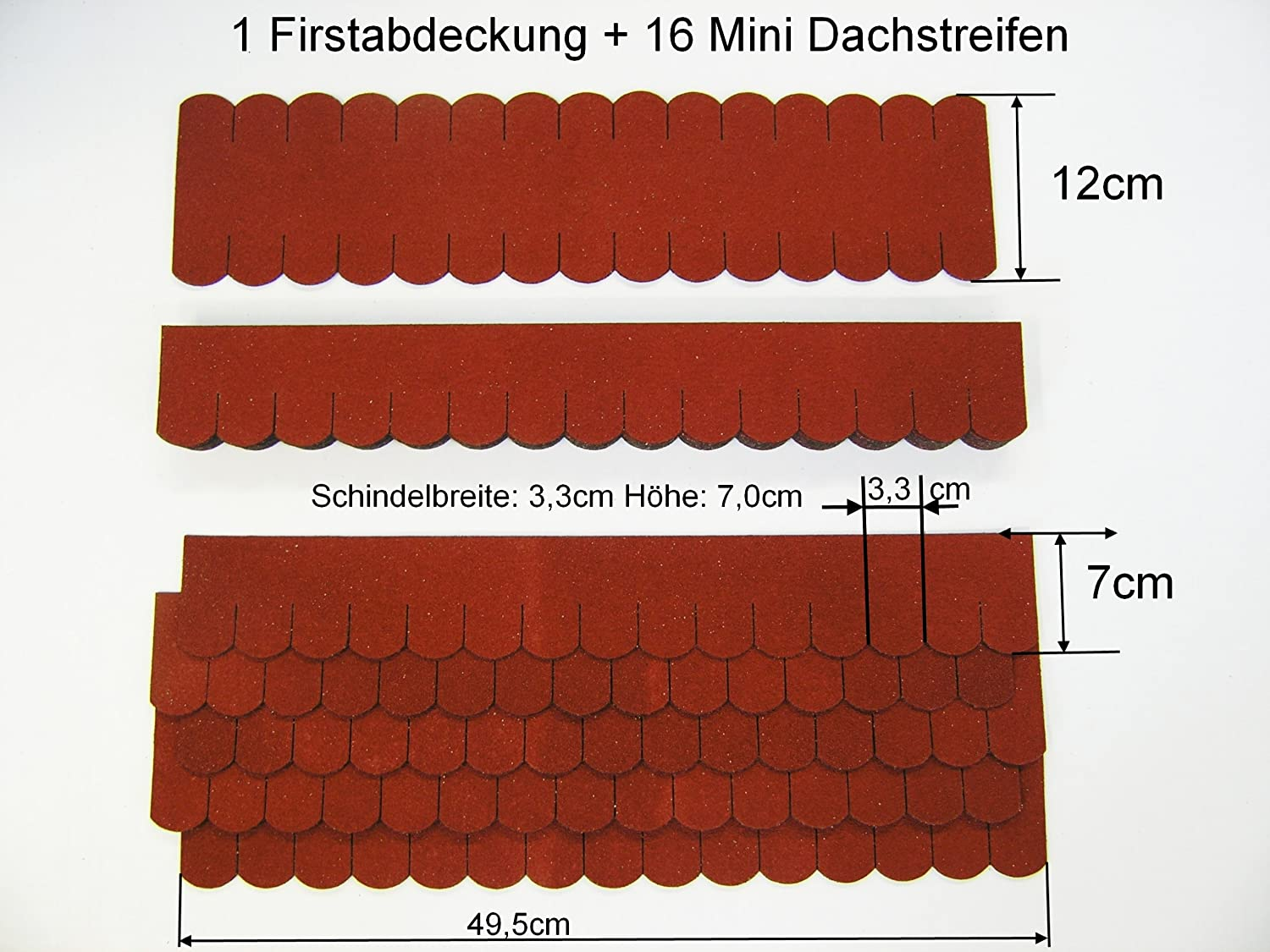 Mini Roof Shingles Beaver Tail Set Small 49.5x7cm Red '58' Werkstätten Martinshof