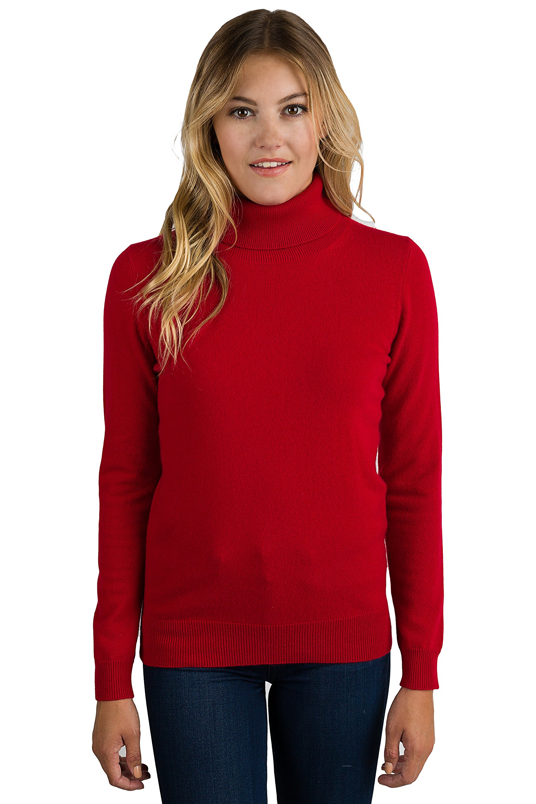 JENNIE LIU Women's 100% Pure Cashmere Long Sleeve Pullover Turtleneck Sweater (PS, Red)