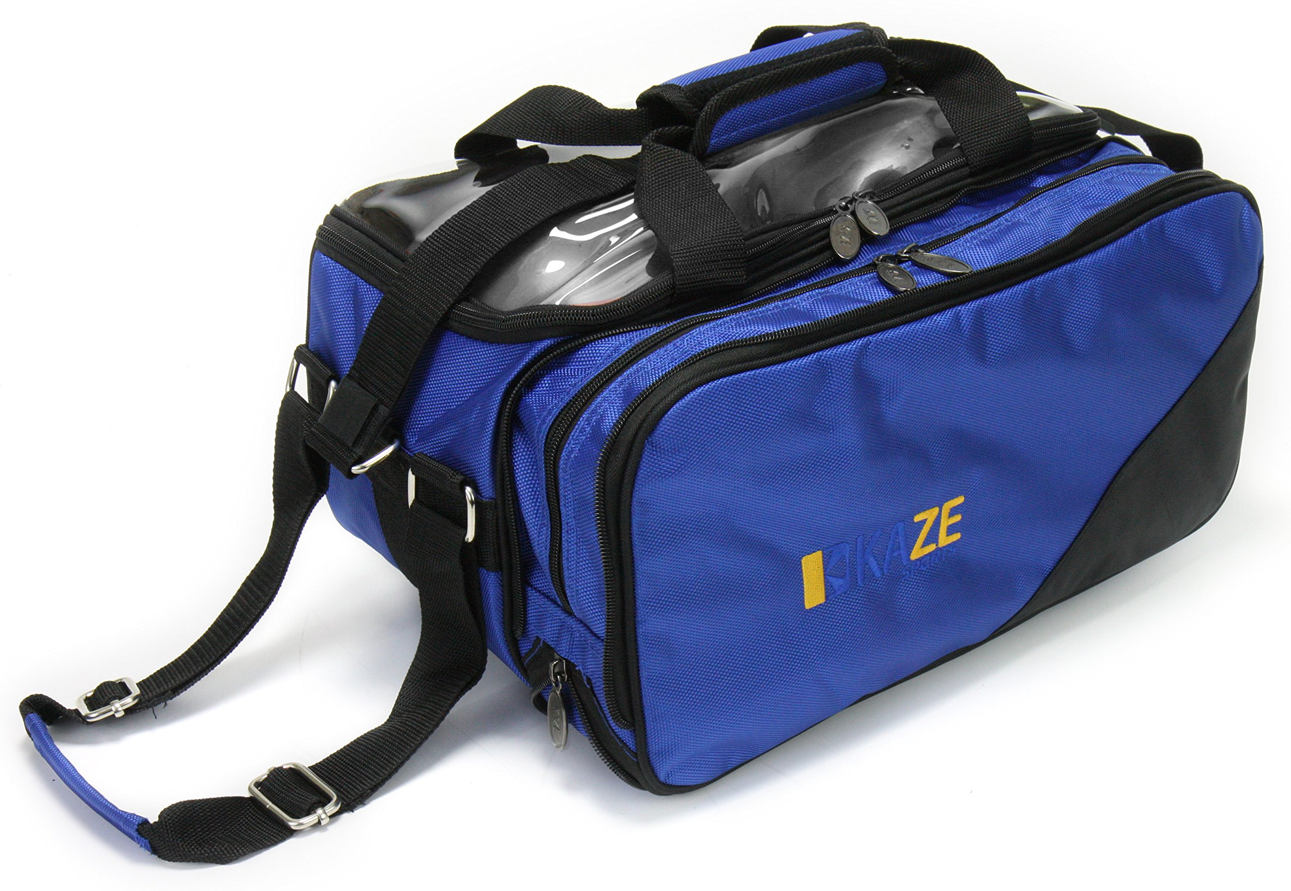 KAZE SPORTS 2 Ball Compact Bowling Roller with Expandable Shoe Storage (Blue)