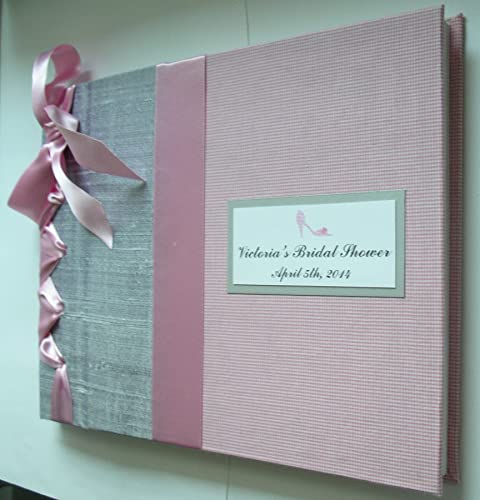 silver pink bridal shower guest book wedding guestbook baby shower christening