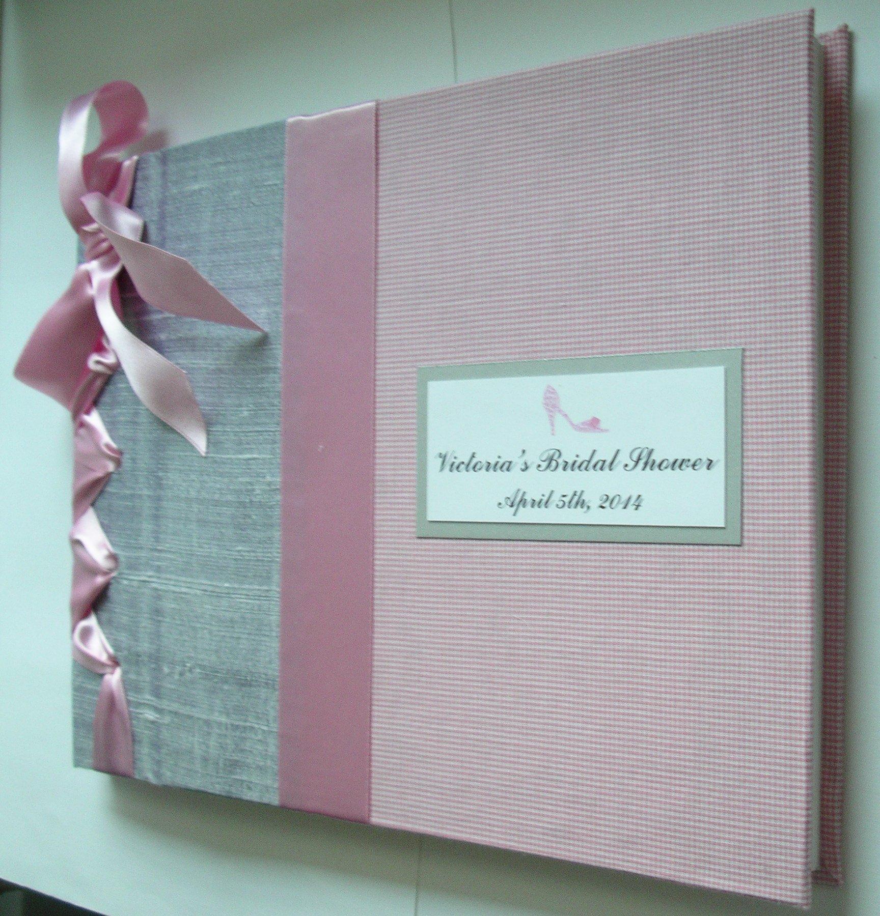 Silver + Pink Bridal Shower Guest Book, Wedding Guestbook, Baby Shower, Christening,