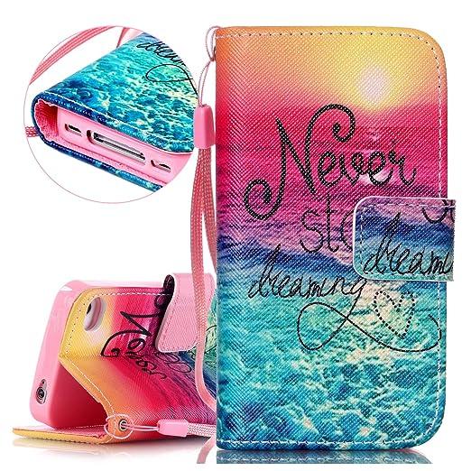2 opinioni per Isaken- Custodia a portafoglio per iPhone 4 e 4S, elegante disegno stampato, in