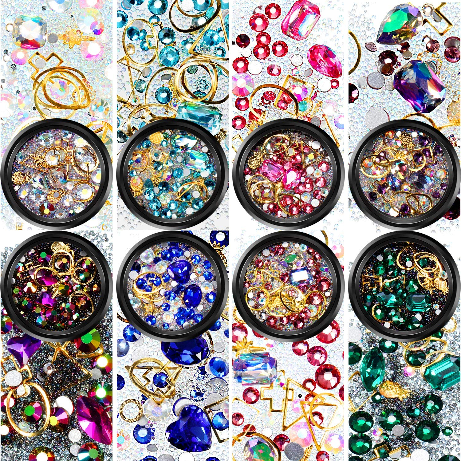 Nail Art Rhinestones Flatback Diamonds Crystals Beads Gems Mixed Colorful for Nail Art Decorations DIY Design (Set 1, 8 Boxes) by Yaomiao