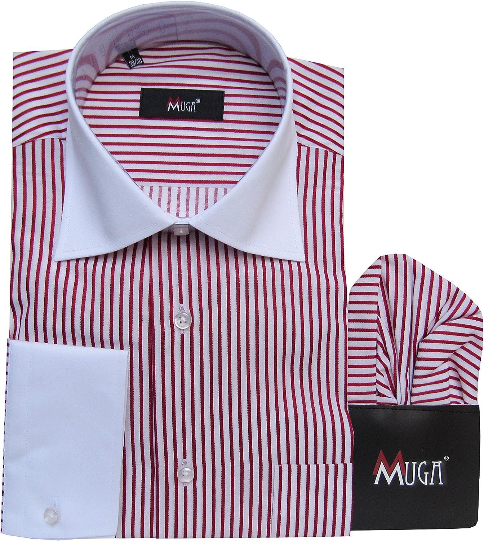 MMUGA - Camisa Casual - Rayas - Clásico - Manga Larga - para ...