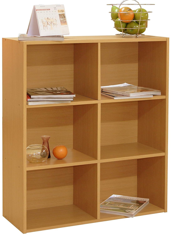 Librería de madera de 3 niveles para almacenamiento con diseño a la vista Myfur ADL019