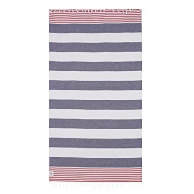 Lushrobe Terry Beach Cotton Towel - Lightweight and Large Peshtemal with Tassels for Bath Pool Travel Unisex - 68  L x 37  W (Navy/Red)