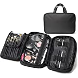 Makeup Bag & Cosmetic Travelling Organizer. Divided Compartments with Zipper Closure and Brush Holders - for Teen Girls & Women. Limited 1-Year Warranty
