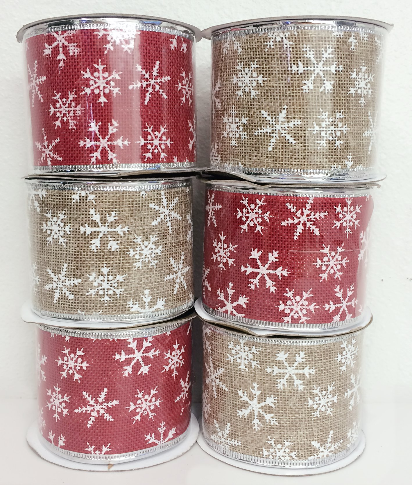 4 Rolls Assorted Patterns Classic Christmas Decorations Ribbons (2.5''W x 9FT Each) - Red/Khaki
