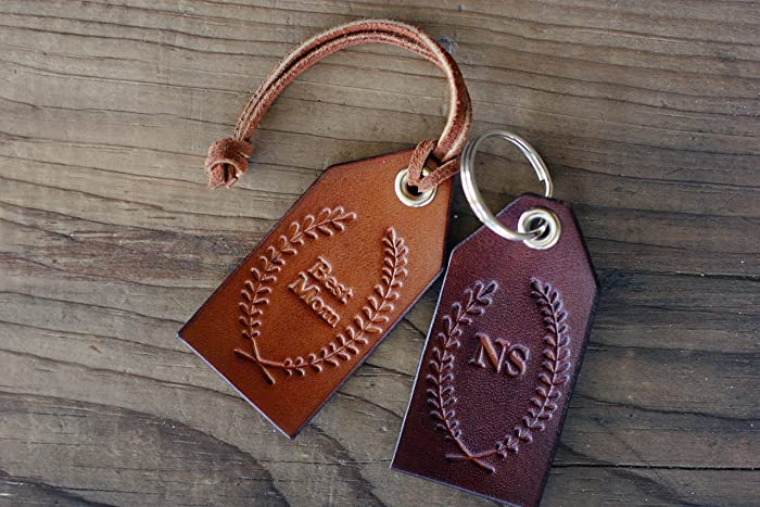 Amazon.com: Custom Personalized Leather Tag, Initials Key Chain ...
