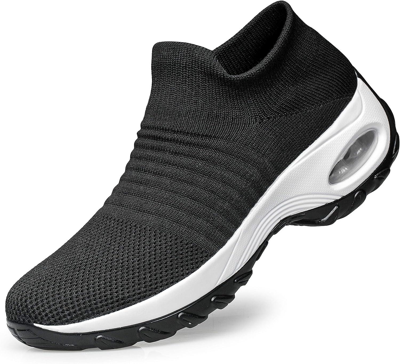 Sock Sneakers Slip on Mesh Platform Air Cushion Athletic Shoes Work Nurse Comfortable YHOON Womens Walking Shoes