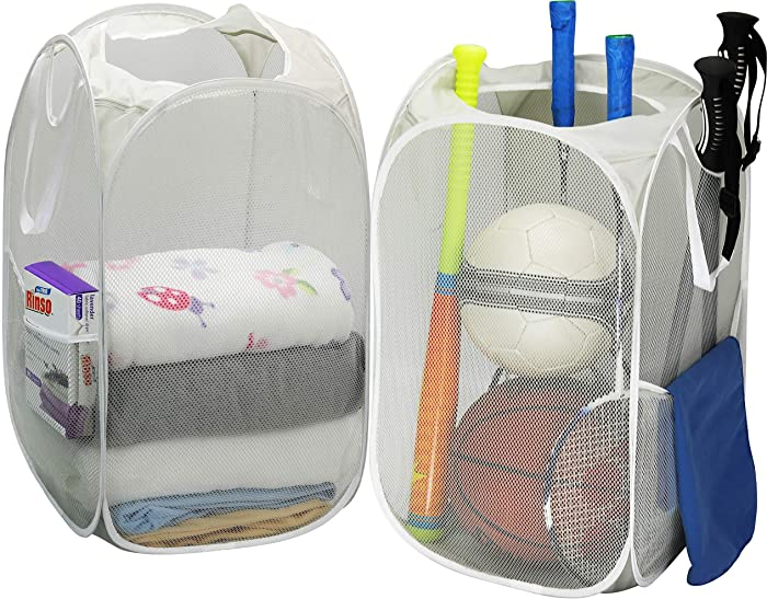 2 Pack - SimpleHouseware Mesh Pop-Up Laundry Hamper Basket with Side Pocket, Gray
