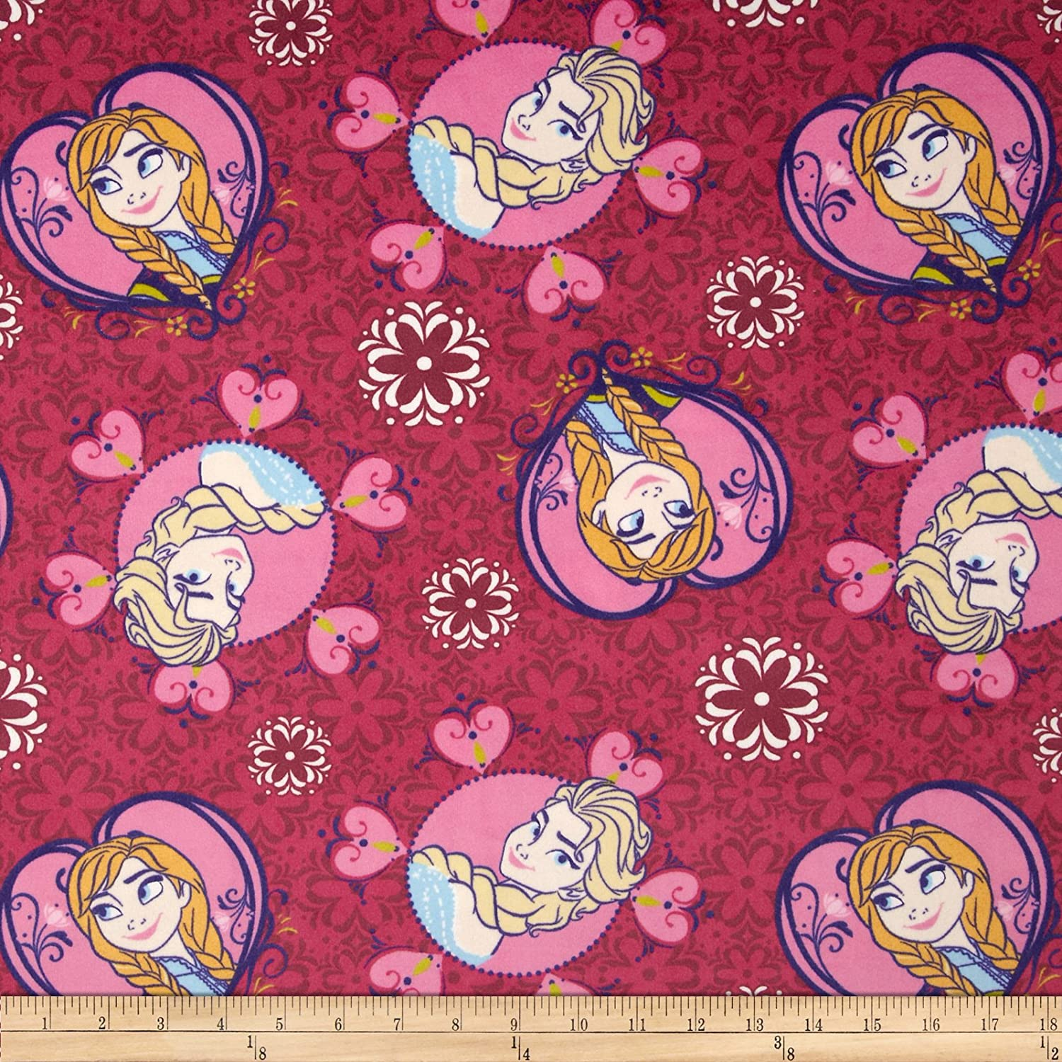 Disney Frozen Minky Velour Sisters Framed Toss Pink Fabric by The Yard