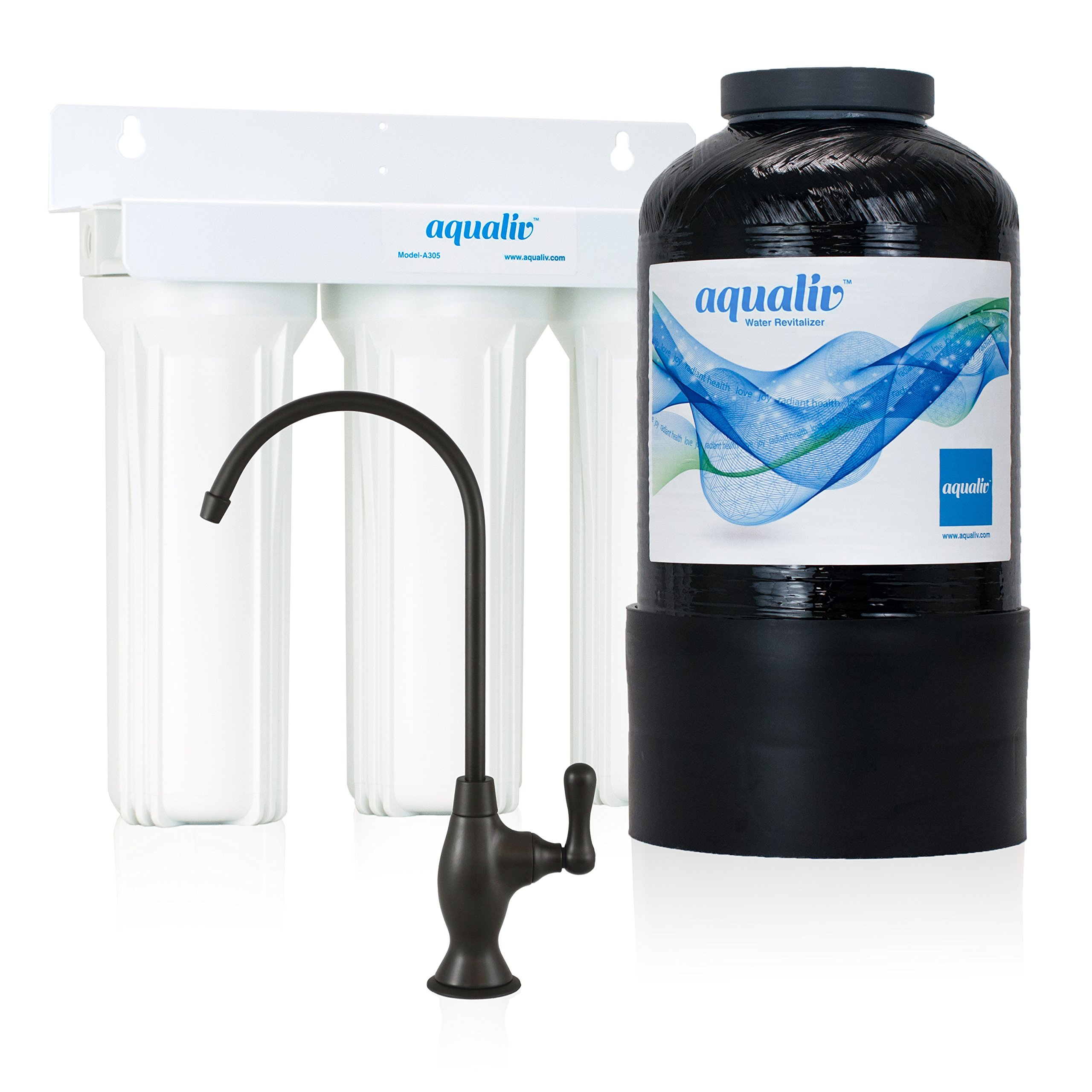 AquaLiv Water System A305 w/ Contemporary Oil Rubbed Bronze Faucet - pH Alkaline Water, Ionizer Machine, Structured Water, Water Filter, Water Purifier by AquaLiv