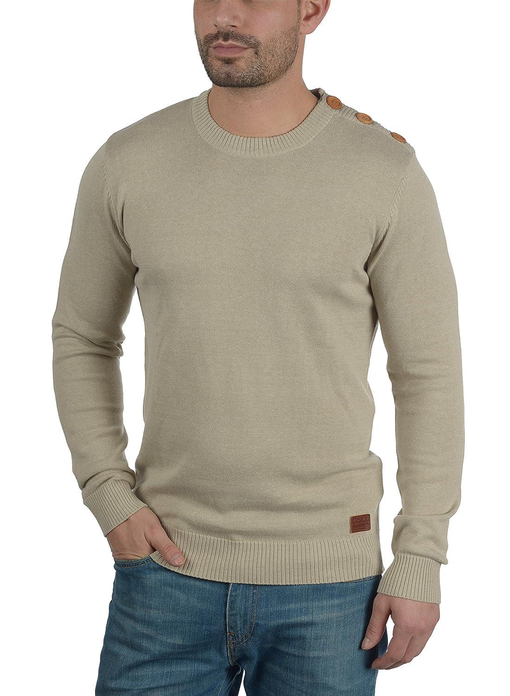 9db47a87a43e Blend Louis Herren Strickpullover Feinstrick Pullover Mit Rundhals Und  Schulter-Knopfleiste größeres Bild