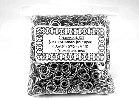 """1000 7//16 /"""" 16g Bright Aluminum JUMP RINGS SAW CUT Chainmail chain mail maille"""