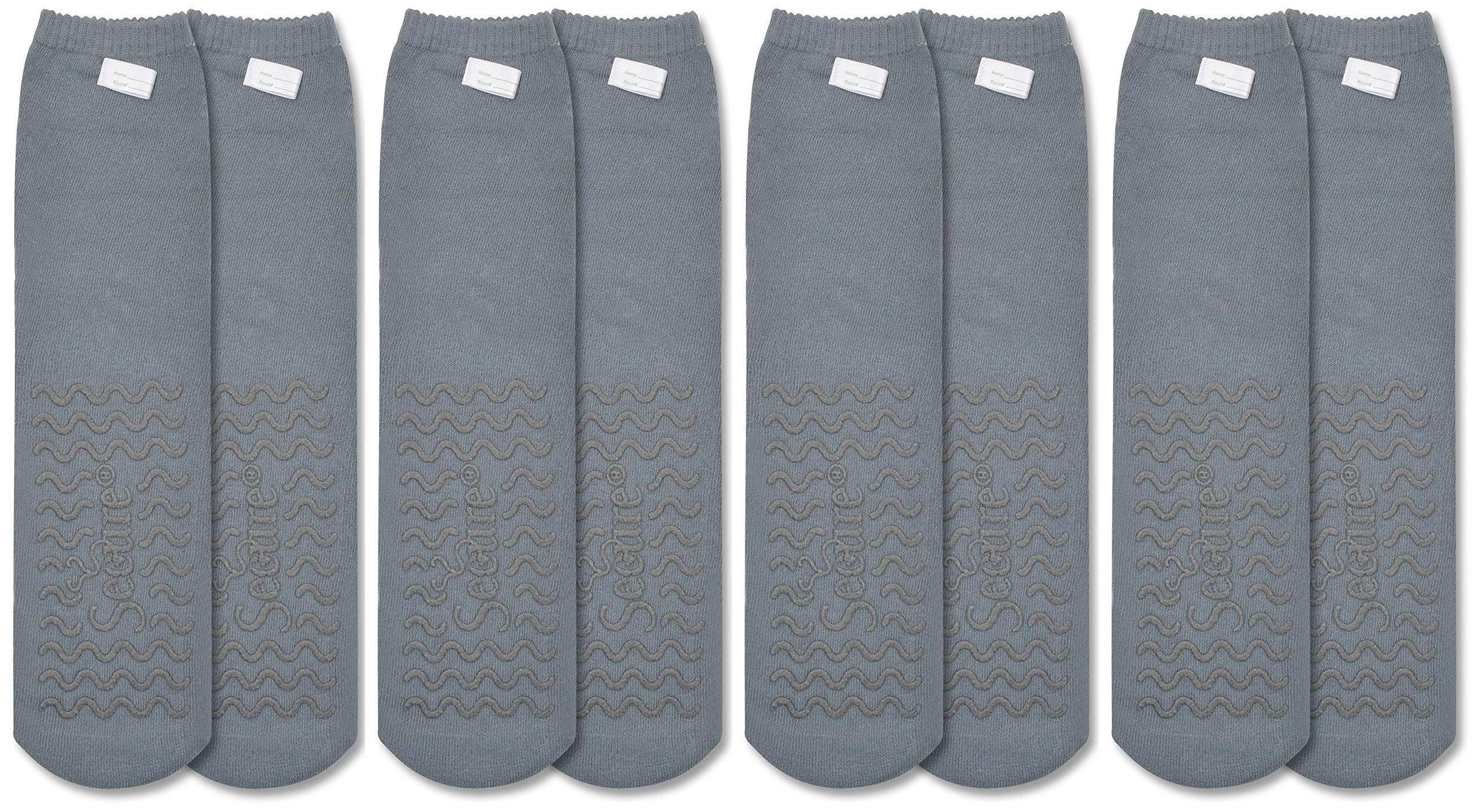 Secure (4 Pairs) Ultra Soft Non Slip Grip Slipper Socks, Gray - Fall Injury Prevention Hospital Tread Sock for Safety, Comfort and Warmth