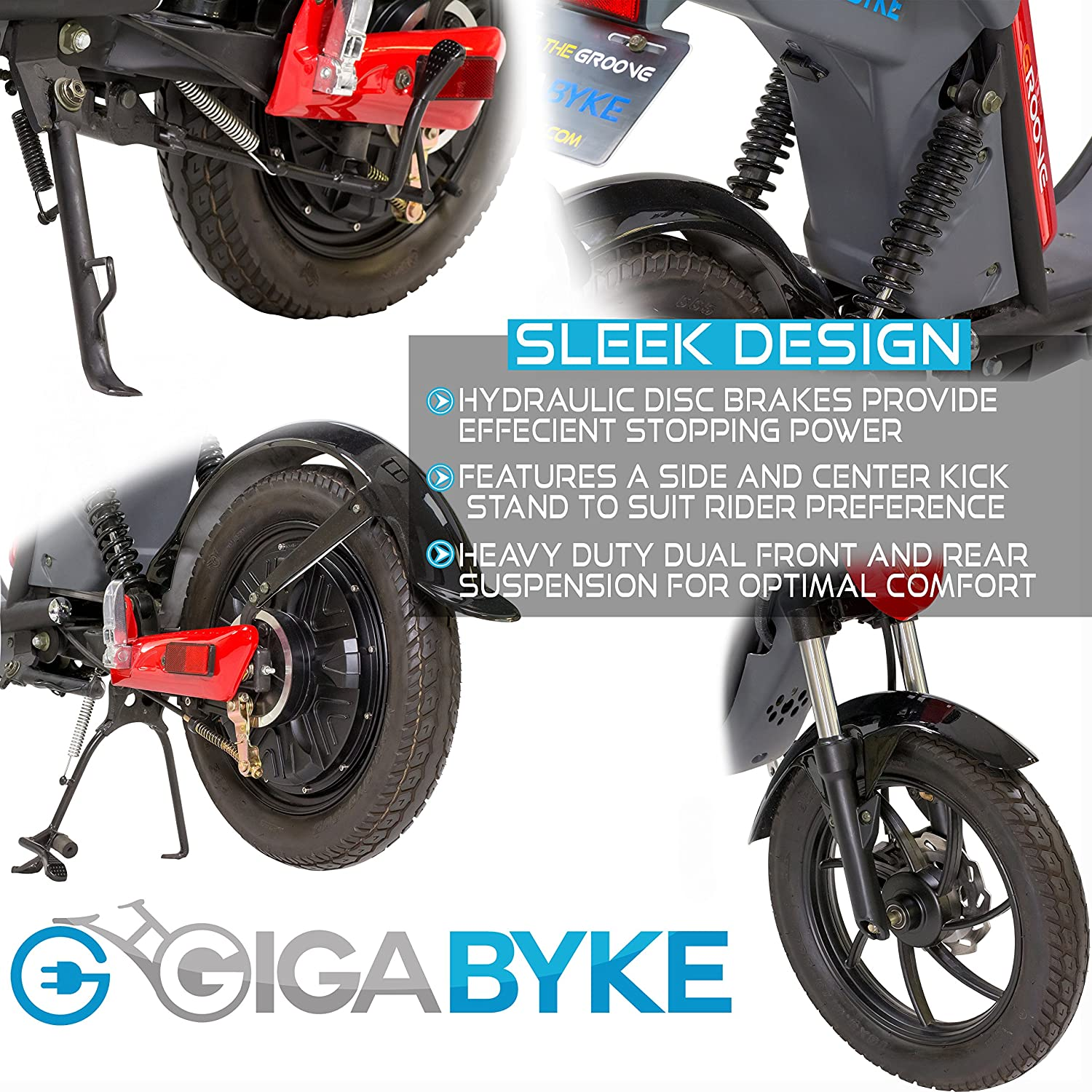 Gigabyke Groove 750 Watt Motorized E Bike Street Wiring Diagram For Bicycle Legal Electric Moped With Pedals 2018 Enhanced V2 Version Black Sports Outdoors