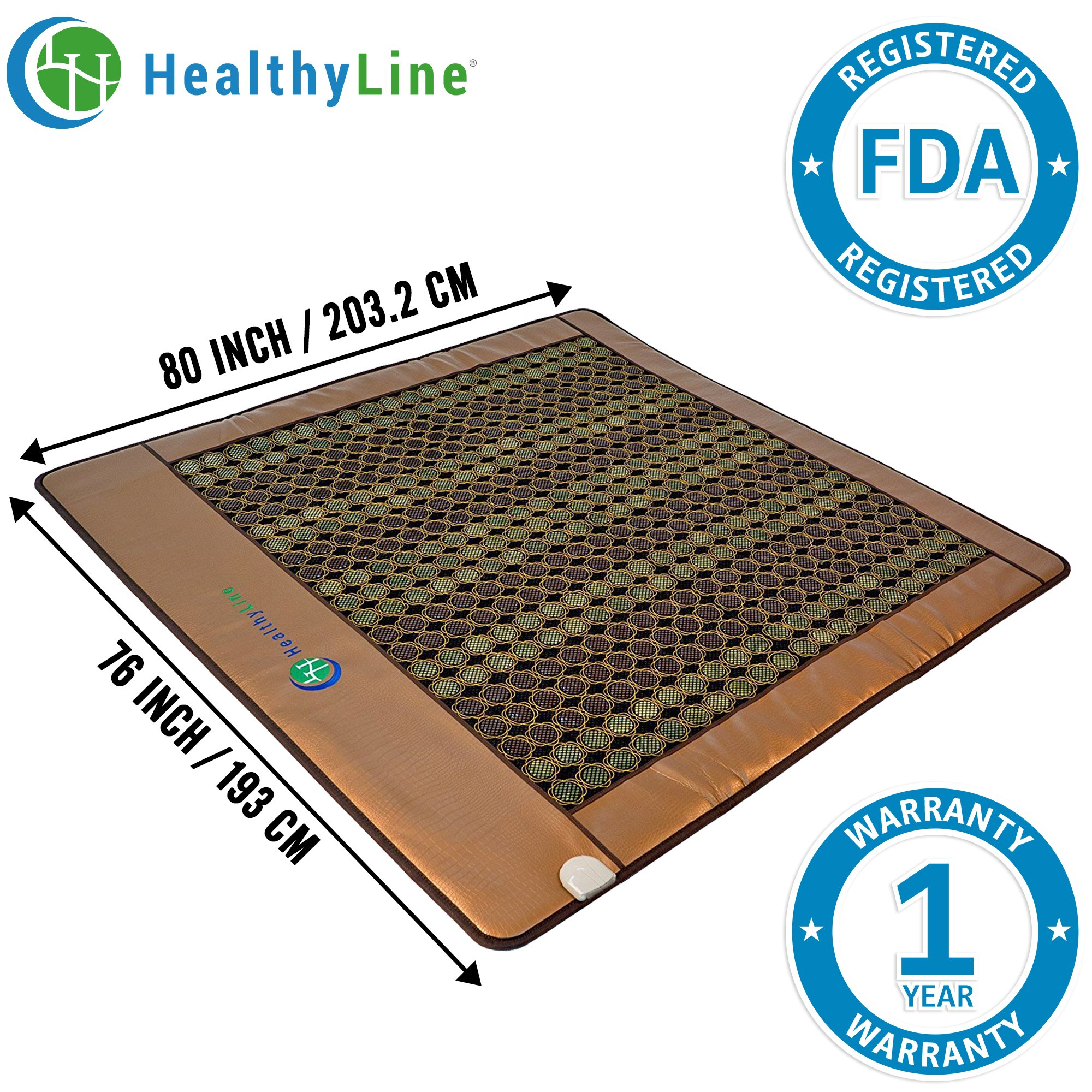 HealthyLine Infrared Heating Mat|Natural Jade & Tourmaline Stone 80'' x 76'' | Negative Ions (King) | Relieve Pain, Stress & Insomnia | FDA by HealthyLine (Image #1)