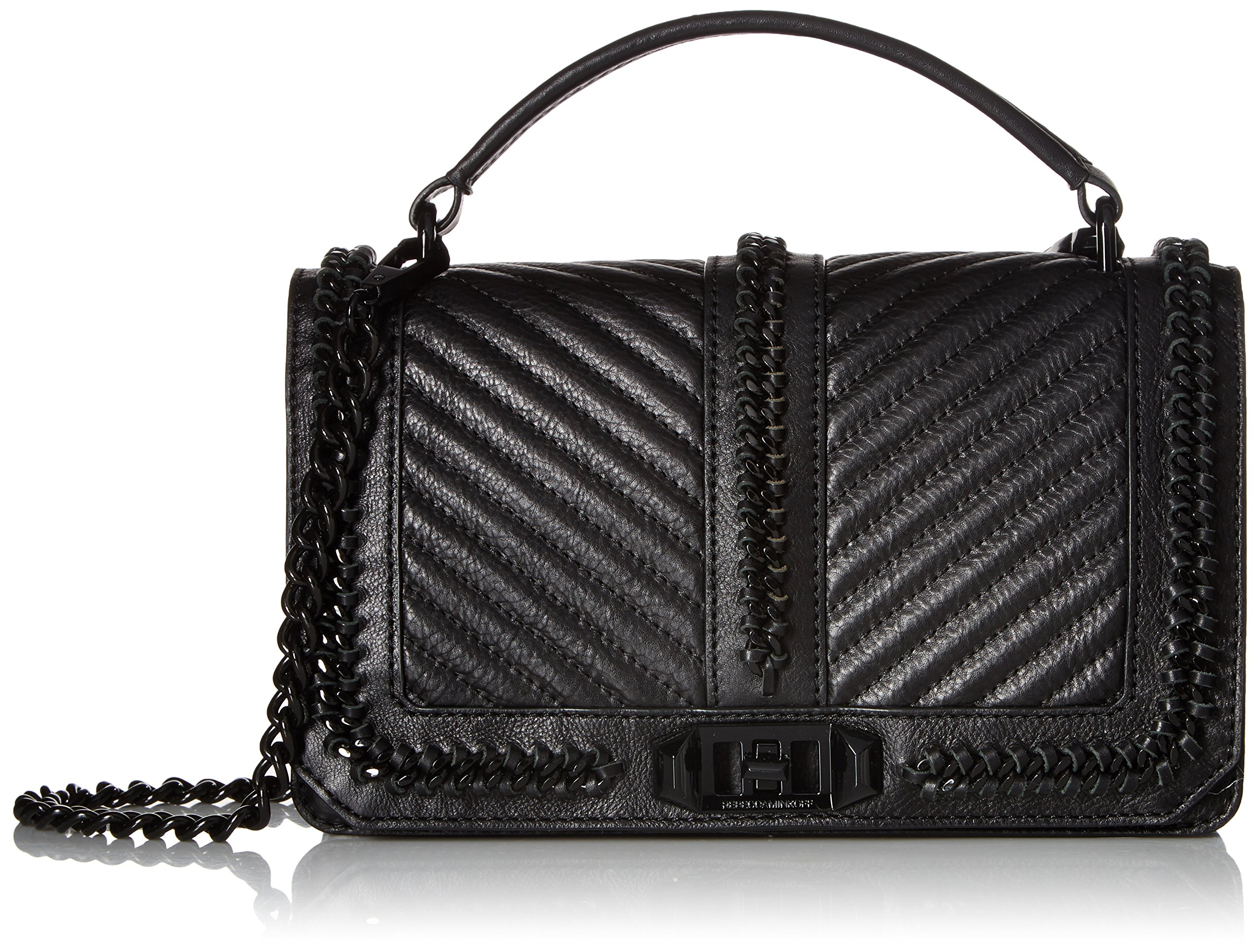 Rebecca Minkoff Love Crossbody with Chain and Top Handle, Black