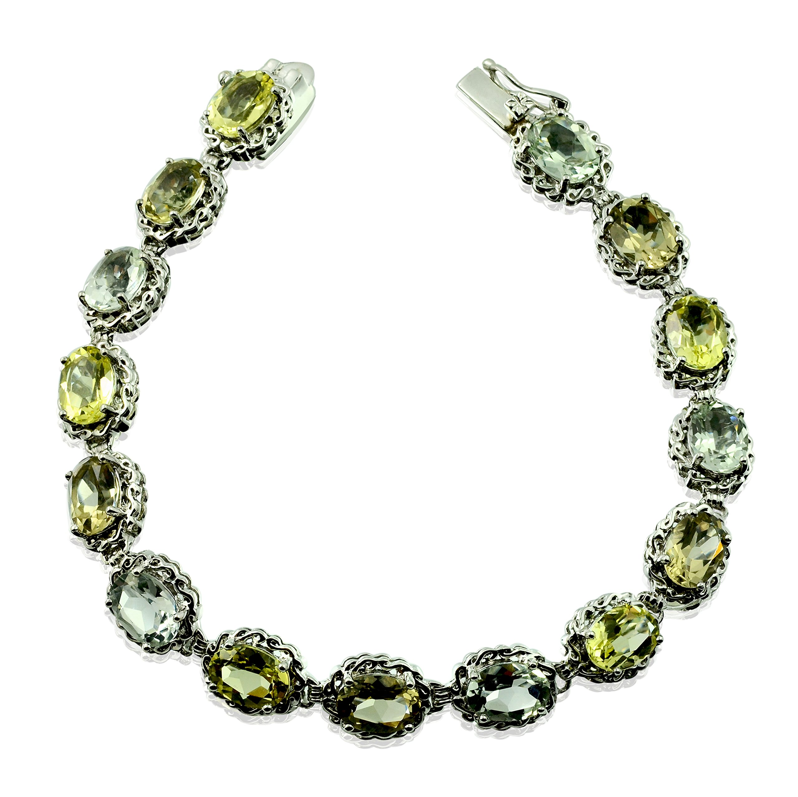 "Sterling Silver 925 TENNIS Bracelet GENUINE GREEN AMETHYST 17 Cts with RHODIUM-PLATED Finish, 7"" Long"