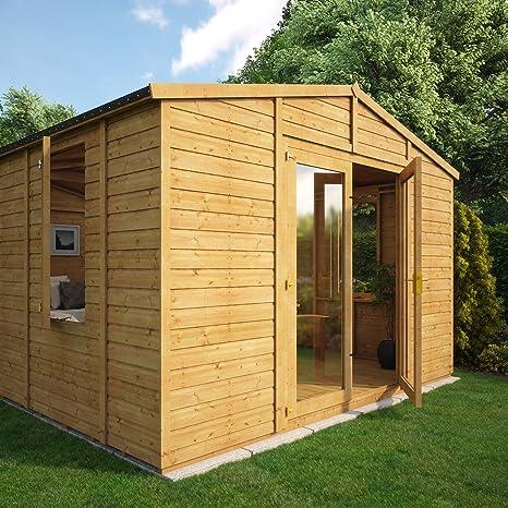 12 FT Duke de madera jardín lugar de descanso Apex Doble Puerta ...