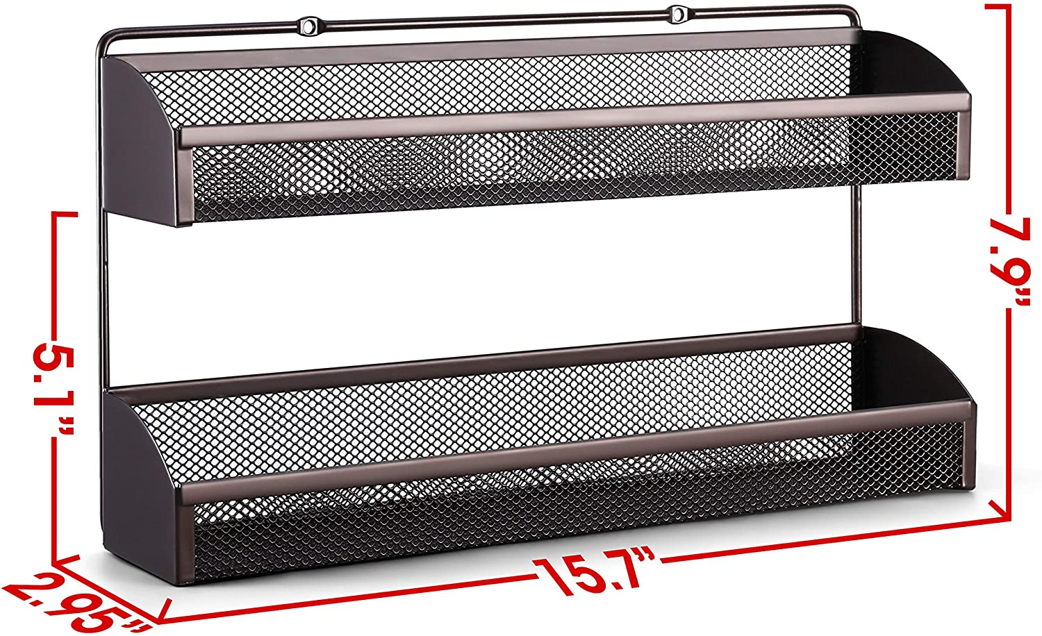 Wall Mounted Spice Shelf Storage Holder for Kitchen Cabinet Pantry Door Simple Trending 2 Tier Spice Rack Organizer Bronze 2 Pack