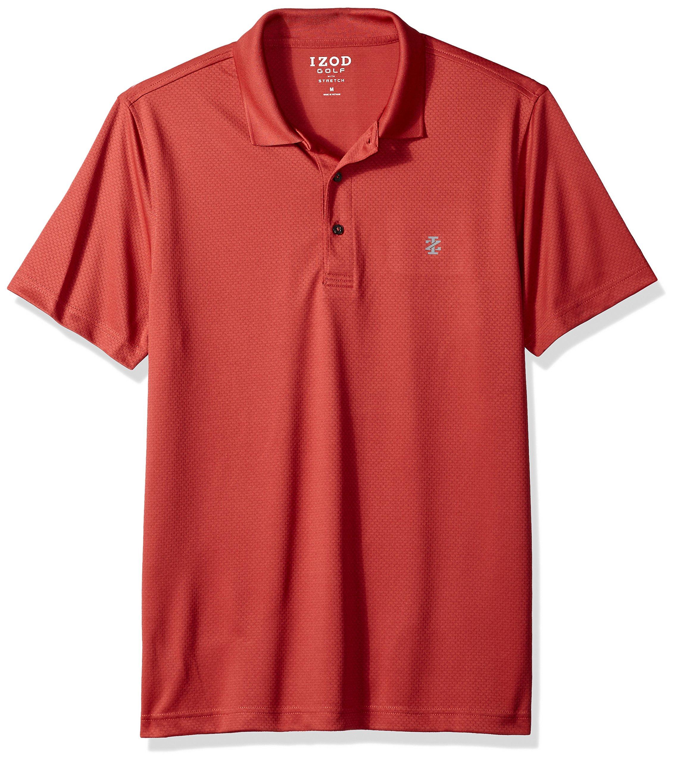 IZOD Men's Golf Title Holder Short Sleeve Polo, Saltwater red, XL