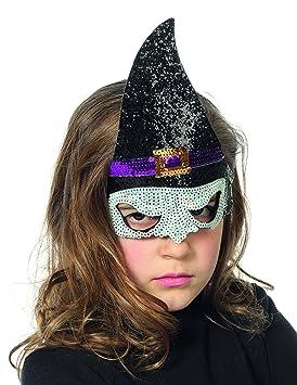 Máscara de bruja con lentejuelas niño Halloween