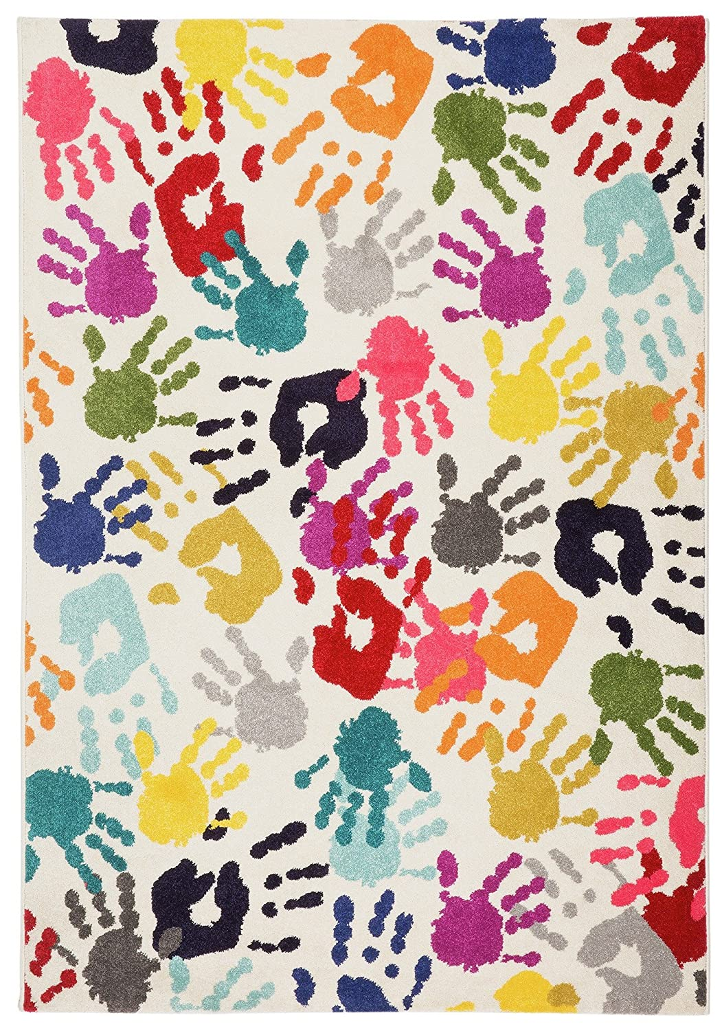 Lord of Rugs Modern Quality Multi Colour Hands Design Kids Children Rug in 120 x 160 cm (4'x5'3)