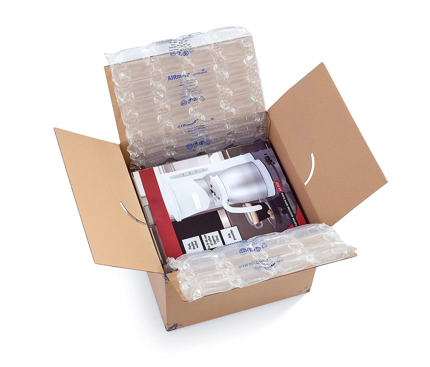 TSS Cushion M Carton Airmove Inflatable Packaging Air Film = 1 Carton Rolls ea. = 16 x 1 150' x 9.84 Perf Clear Pack of 2