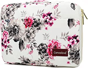 Canvaslove Chrysanthemum Conner and Bottom Rebound Bubble Protection Waterproof Laptop Sleeve Case with Handle and Pockets for 14 inch Laptop