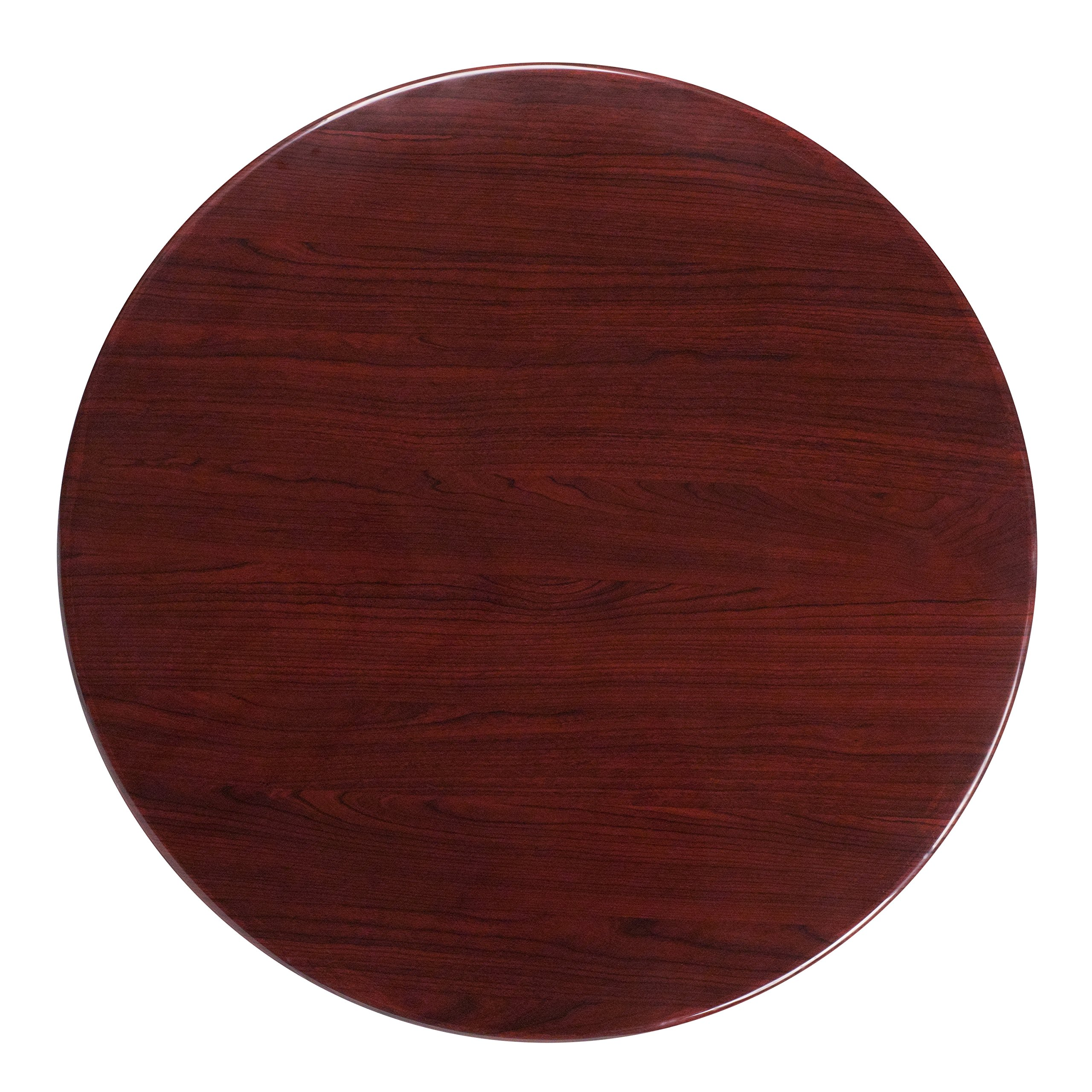 Flash Furniture 36'' Round High-Gloss Mahogany Resin Table Top with 2'' Thick Drop-Lip by Flash Furniture