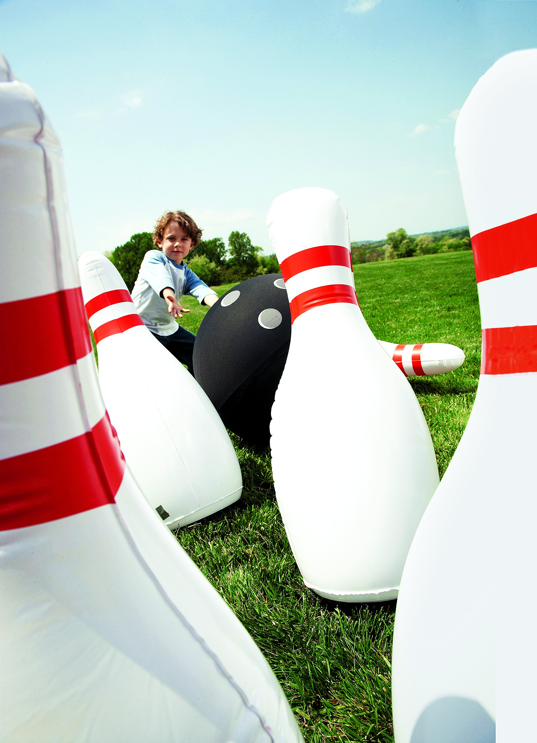 HearthSong Giant Inflatable Bowling Game – Oversized Outdoor Yard Games for Kids and Families – Classic Red, White, and Black – Pins Measure 29'' Tall