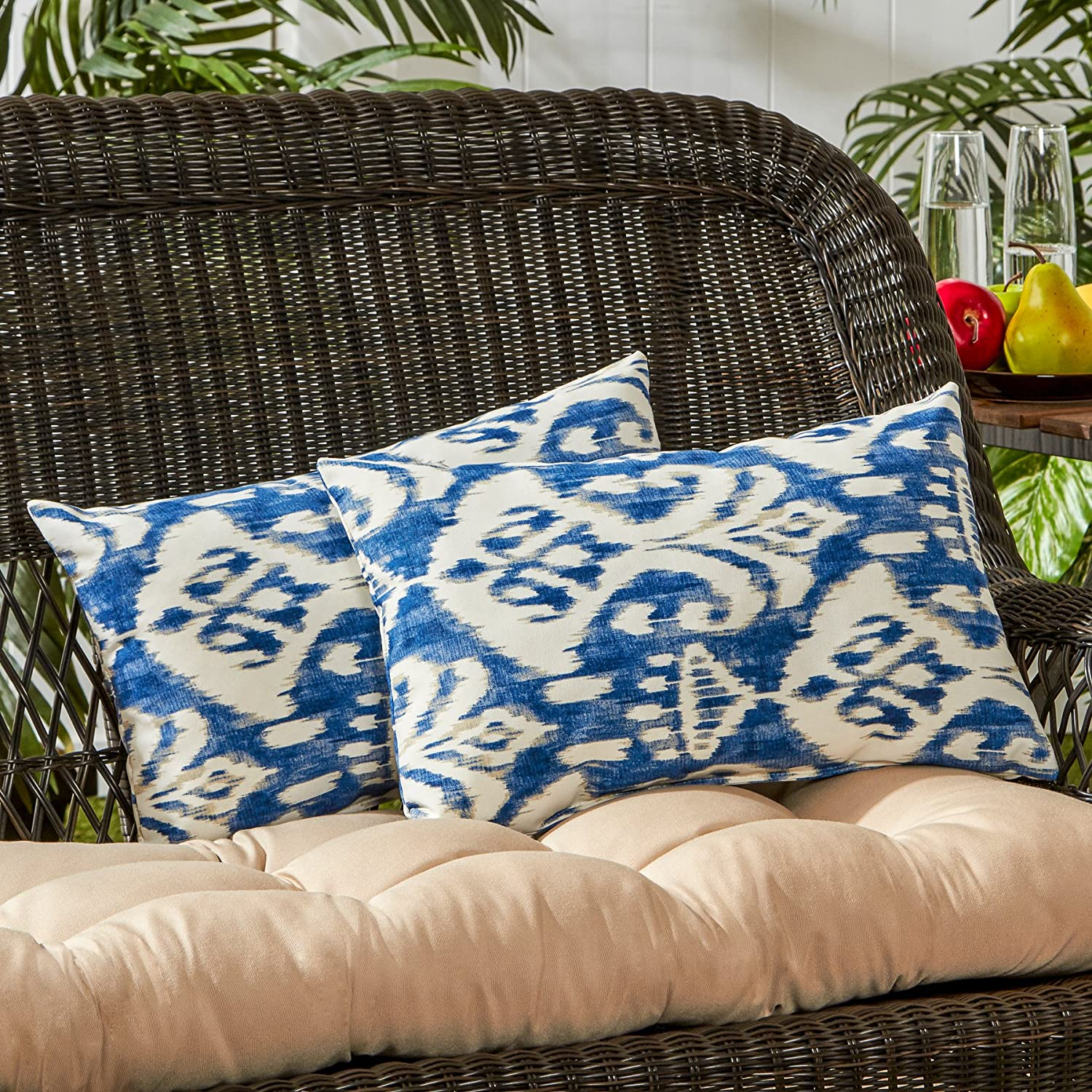 Greendale Home Fashions Rectangle Outdoor Accent Pillows in Coastal Ikat Set of 2 , Azule