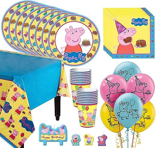 Amazon.com: Party City Peppa Pig - Vajilla para 16 invitados ...