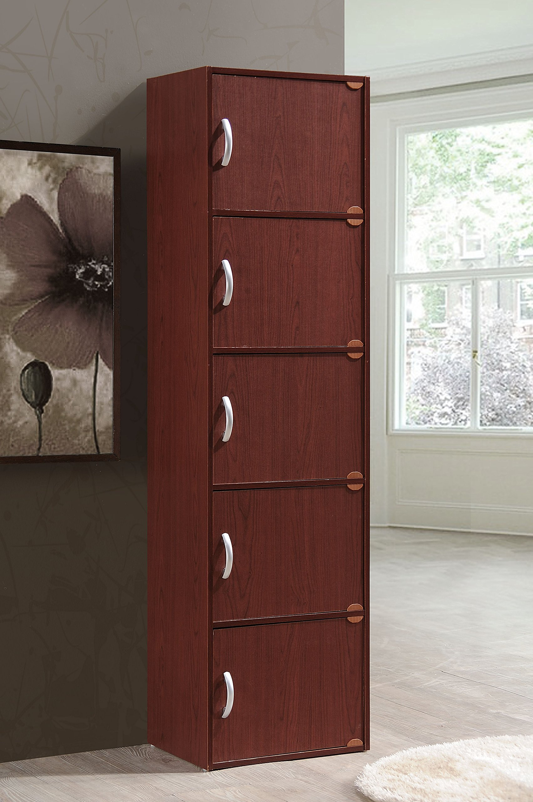 Hodedah 5 Door, Five Shleves, Enclosed Storage Cabinet, Mahogany by HODEDAH IMPORT (Image #2)