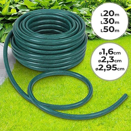 Manguera de Jardín 20m - Ø: aprox. 2, 95cm (Longitud de selección 20/30/50m) | Reforzada, diferentes diámetros | PVC, Riego, Irrigación, Verde: Amazon.es: Jardín