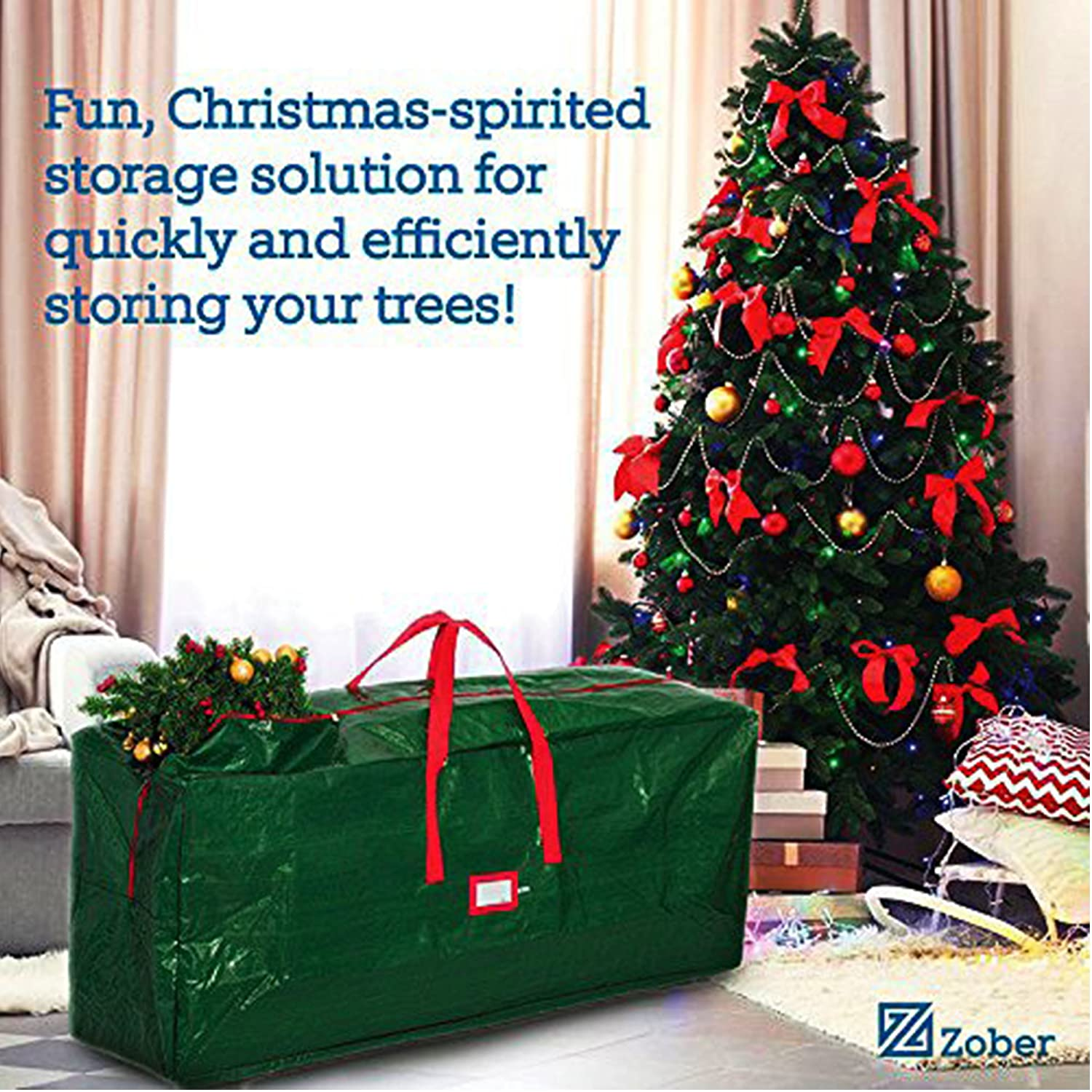 amazoncom zober christmas tree storage bag artificial up to 7 christmas tree organizer for un assembled trees with sleek zipper also accommodates - Christmas Tree Bags Amazon