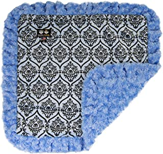 product image for BESSIE AND BARNIE Versailles Blue/Blue Sky (Ruffles) Luxury Ultra Plush Faux Fur Pet, Dog, Cat, Puppy Super Soft Reversible Blanket (Multiple Sizes)