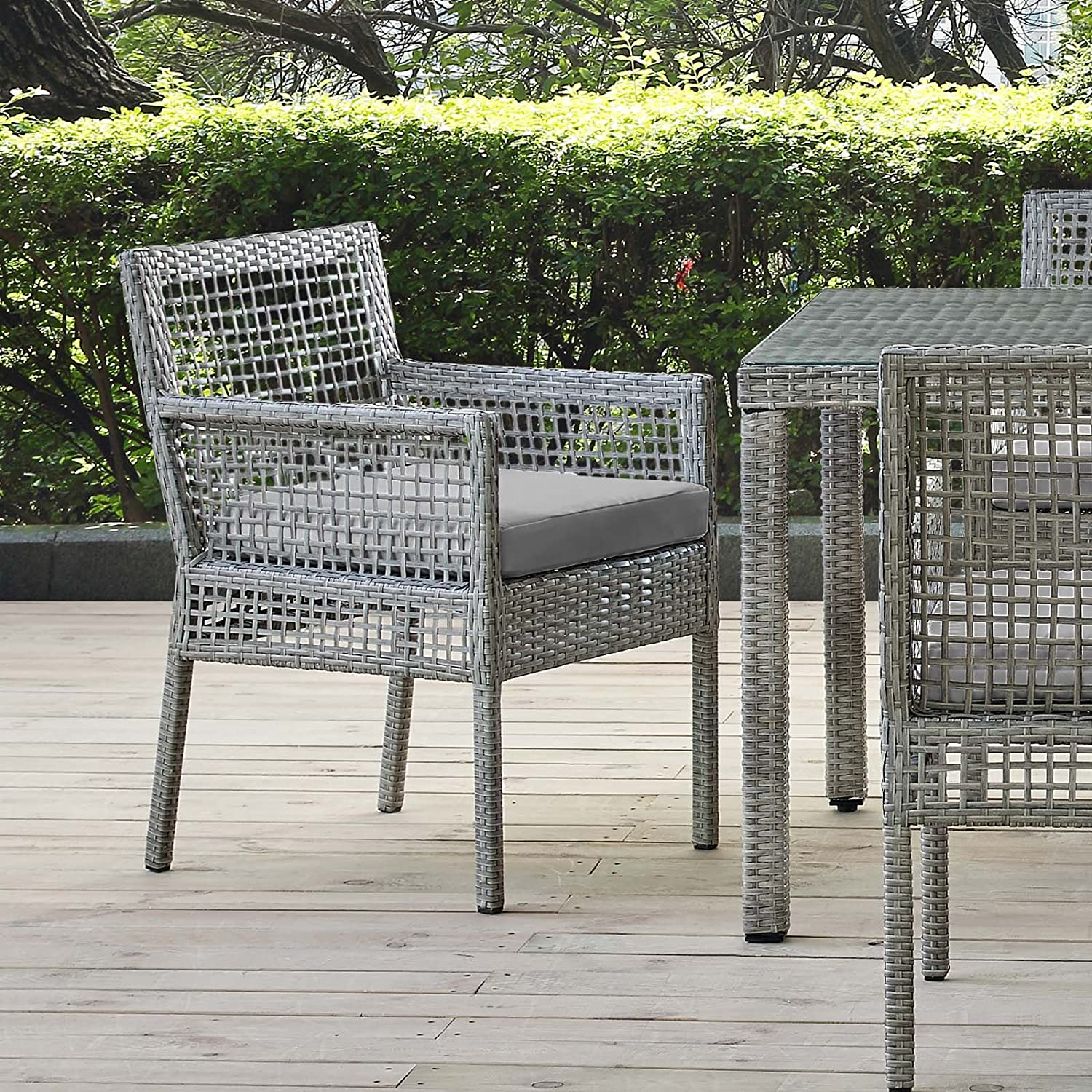 Modway Aura Wicker Rattan Outdoor Patio Dining Arm Chair with Cushion in Gray Gray : Garden & Outdoor