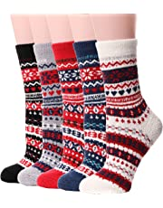 Womens Girls Fuzzy Slipper Socks Cabin Soft Fluffy Warm Cute Cozy Winter Christmas Socks 5 Pairs